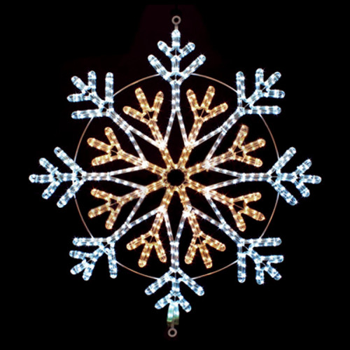 36 Inch Cool White and Warm White LED Rope Light Snowflake Motif