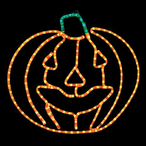 24 Inch Orange and Green Rope Light Halloween Jack O' Lantern Motif