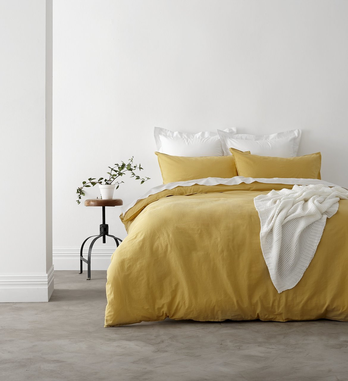 Bon In 2 Linen Vintage Washed King Bed Quilt Cover Set | Yellow