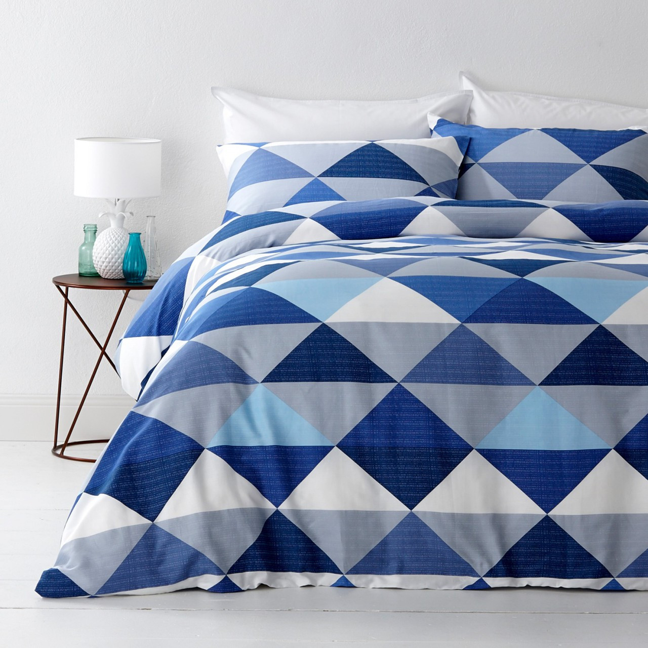 In 2 Linen Tanika Blue Double Bed Quilt Cover Set