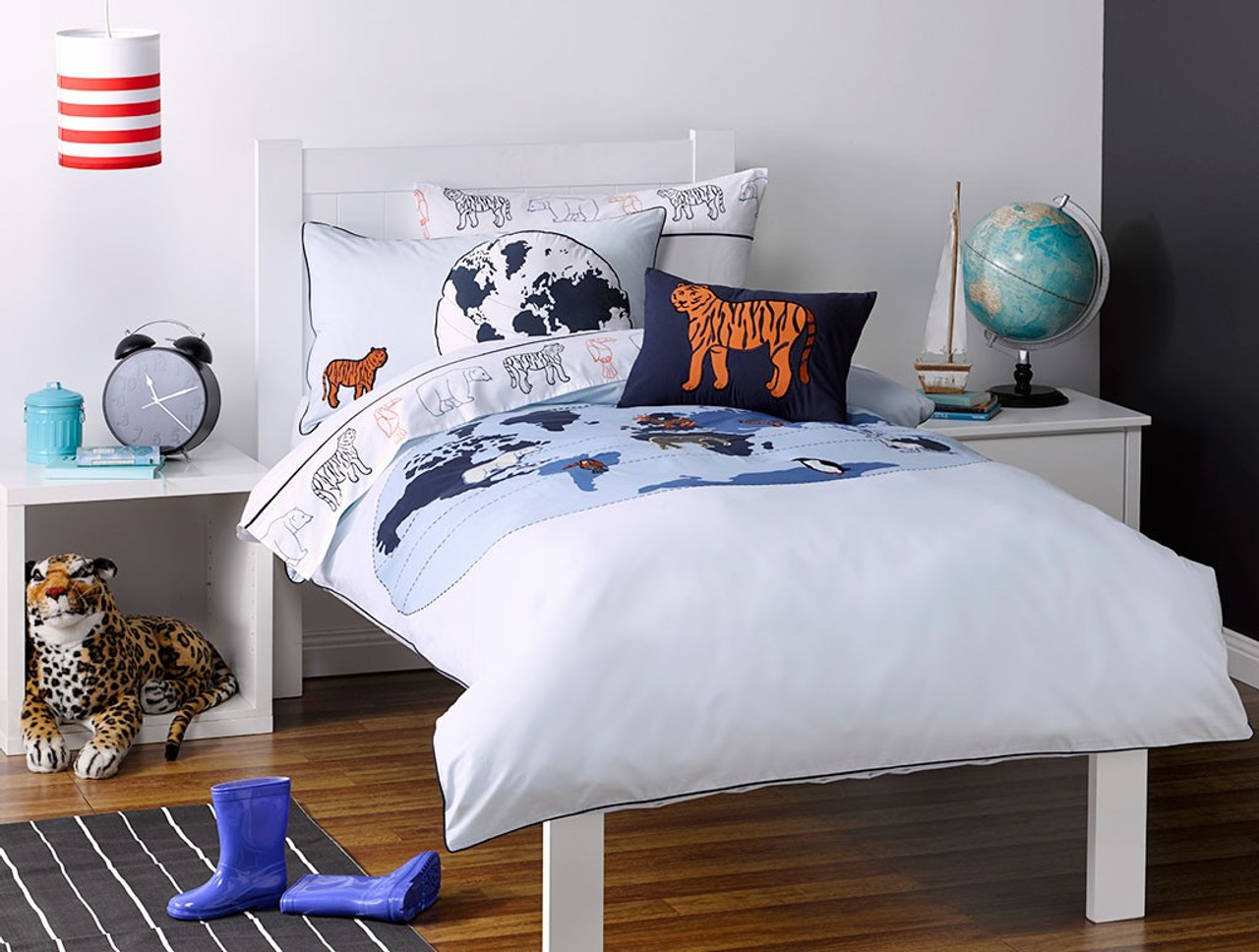 Whimsy Kids Animal Atlas Single Bed Sheet Set