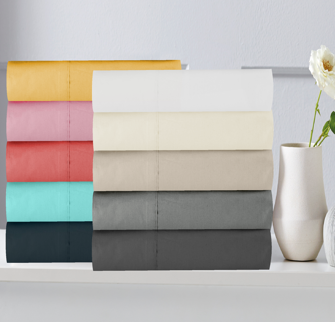 In 2 Linen 300TC Cotton Percale King Single Bed Sheet Set | Assorted Colours