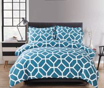 In 2 Linen Jeremy Teal Double Bed Cover Set