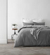 In 2 Linen Vintage Washed Super King Bed Quilt Cover Set | Silver