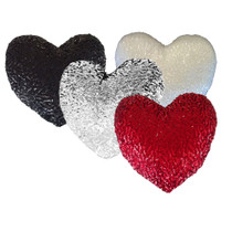 Georges Sequined Heart Shaped Filled Scatter Cushion | BLACK
