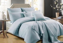 Perle Zeus Quilted Queen Bed Quilt Cover Set | Powder Blue