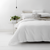 Style & Co White Waffle Weave Super King Bed Quilt Cover Set