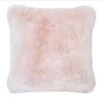 Bambury Faux Fur Square Cushion - Rosewater Pink