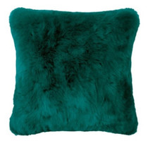 Bambury Faux Fur Square Cushion - Lake Green