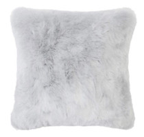 Bambury Faux Fur Square Cushion - Silver