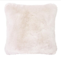 Bambury Faux Fur Square Cushion - Ivory