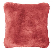 Bambury Faux Fur Square Cushion - Clay Pink