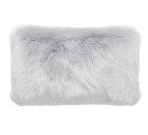 Bambury Faux Fur Oblong Cushion - Silver