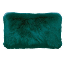 Bambury Faux Fur Oblong Cushion - Lake Green