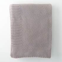 In 2 Linen Seedstitch Knitted Throw Rug | Linen