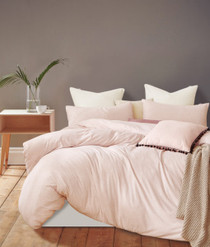 Gioia Casa Jersey Cotton Pink Marble Super King Bed Quilt Cover Set