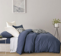 Gioia Casa Jersey Cotton Blue Marble Queen Bed Quilt Cover Set