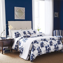 In 2 Linen Mandarin Blue Flowers Single Bed Quilt Cover Set