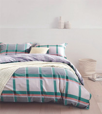 In 2 Linen Oscar Tartan Single Bed Quilt Cover Set
