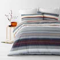 In 2 Linen Alex Orange Super King Quilt Cover Set