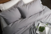 In 2 Linen Waffle Weave Double Bed Quilt Cover Set | Pewter