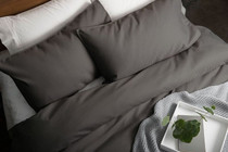 In 2 Linen Waffle Weave Double Bed Quilt Cover Set | Charcoal