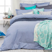 Bambury Charleston Blue Chambray Double Bed Quilt Cover Set