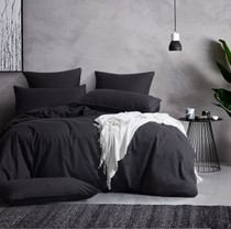 Gioia Casa Corduroy Cotton Queen Bed Quilt Cover Set - Charcoal