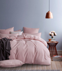 Gioia Casa Corduroy Cotton King Bed Quilt Cover Set - Pink