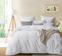 Gioia Casa Corduroy Cotton King Bed Quilt Cover Set - White