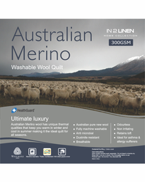 In 2 Linen Australian Merino Wool Queen Bed Quilt 300GSM | All seasons