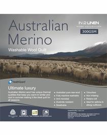 In 2 Linen Australian Merino Wool Queen Bed Quilt 300GSM | All seasons