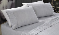 Park Avenue Egyptian Cotton Flannelette Mega King Bed Sheet Set - Stripes