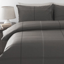 In 2 Linen Bentley Charcoal Single Bed Quilt Cover Set