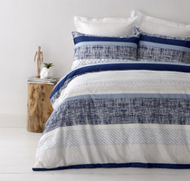 In 2 Linen Saxon Blue Queen Bed Quilt Cover Set