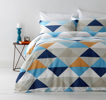 In 2 Linen Tanika Orange Queen Bed Quilt Cover Set