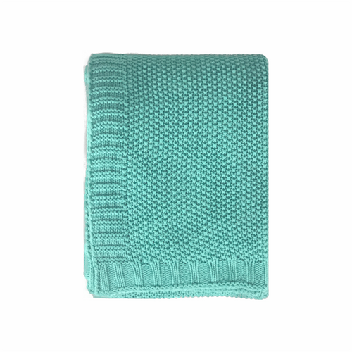 In 2 Linen Chelsea Knitted Throw Rug | Aqua