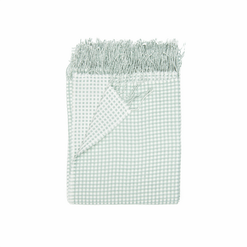 In 2 Linen Waffle Knitted Throw Rug | Natural & Mint