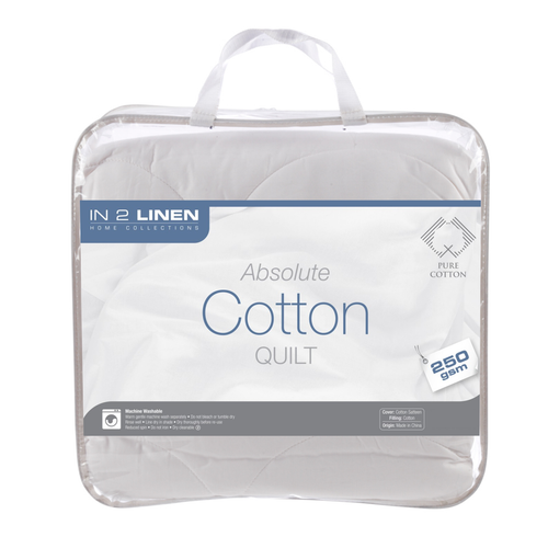 In 2 Linen 250gsm Pure Cotton King Bed Quilt   Summer