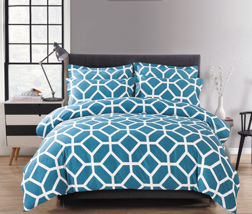 In 2 Linen Jeremy Teal Single Bed Cover Set