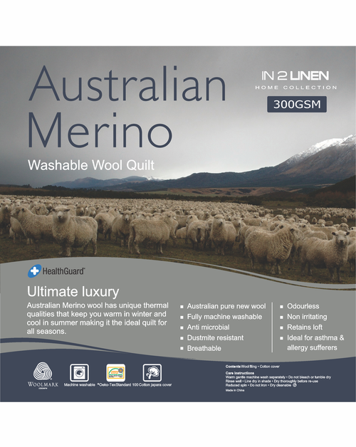 In 2 Linen Australian Merino Wool Single Bed Quilt 300GSM | All seasons