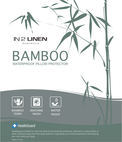 In 2 Linen Standard Waterproof Bamboo Pillow Protectors