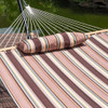 Lazy Daze Hammocks 15 Feet Heavy Duty Steel Hammock Stand , Two Person Quilted Fabric Hammock And Pillow Combo,Brown Stripe