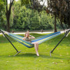Lazy Daze Hammocks Double Hammock with Space Saving Steel Stand Includes Portable Carrying Case, 450 Pounds Capacity (Meadow Stripe)