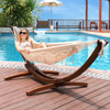 Lazy Daze Hammocks 12Feet Wood Arc Hammock Stand and Canvas Fabric with Tassels and Spreader Bar Hammock Combo