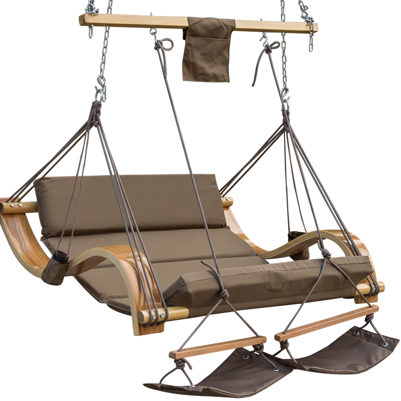 Beau Lazy Daze Hammocks Deluxe Oversized Double Hanging Rope Chair Cotton Padded  Swing Chair Wood Arc Hammock ...