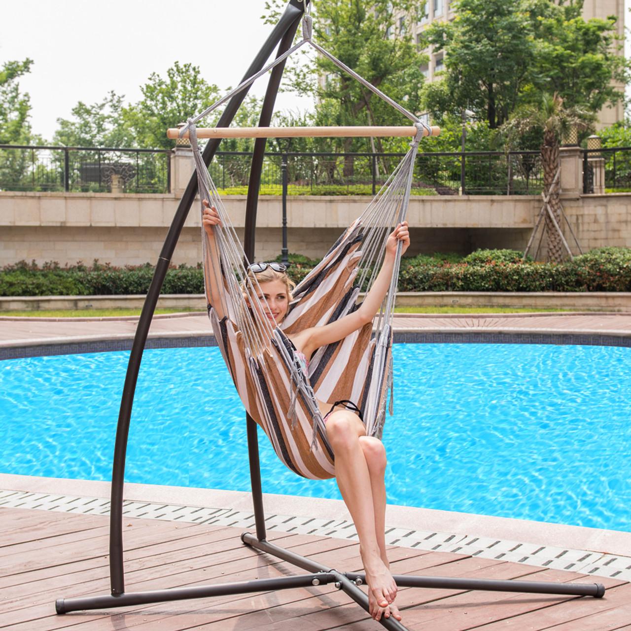 Lazy daze hammocks canvas hanging hammock swing chair seat with wood spreader bar desert stripe