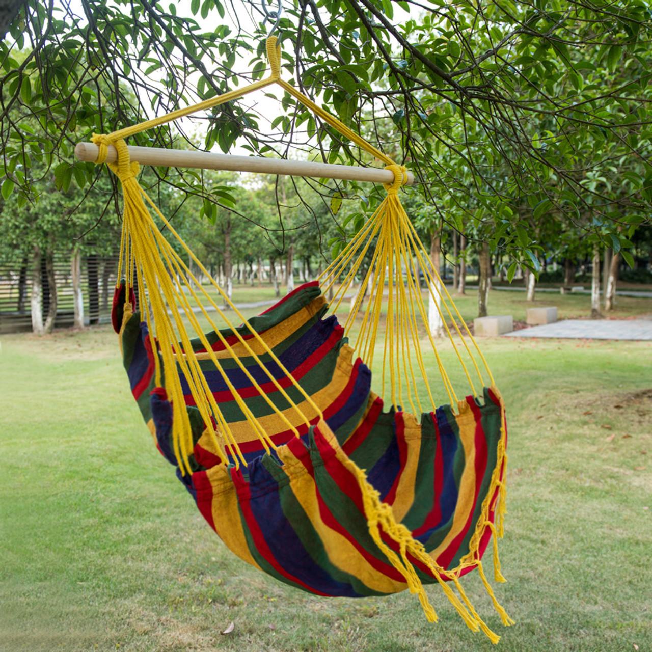Lazy daze hammocks canvas hanging hammock swing chair seat with wood spreader bar tropical stripe