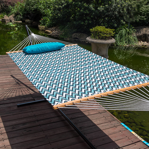 Lazy Daze Hammocks 15 Feet Heavy Duty Steel Hammock Stand, Two Person Quilted Fabric Hammock And Pillow Combo,Blue Chevron Stripe