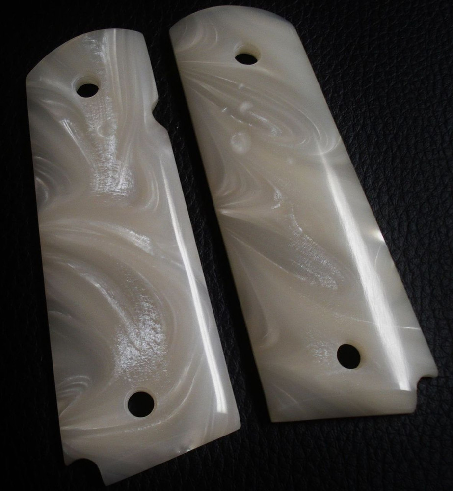 GG1911APBWC Acrylic White and Black Pearl Gun Grips with Box